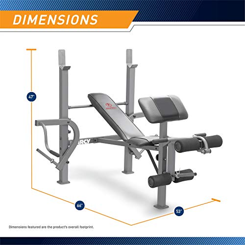Marcy Standard Weight Bench with Leg Developer Multifunctional Workout Station for Home Gym Weightlifting and Strength Training MD-389