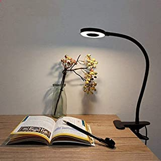 Lámpara de Pinza LED, Lypumso Luz Escritorio con Pinza de Protección Ocular, 2 Modos Ajustables, Blanco Frío/Cálido, 360 °Cuello Flexible, Ahorro de Energía, Negra.