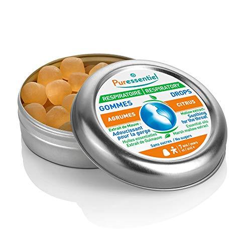 Puressentiel - Respiratoire - Gommes Agrumes - A l'extrait de guimauve et aux huiles essentielles - 100% d'origine naturelle - Adoucissant pour la gorge - Boîte de 45g