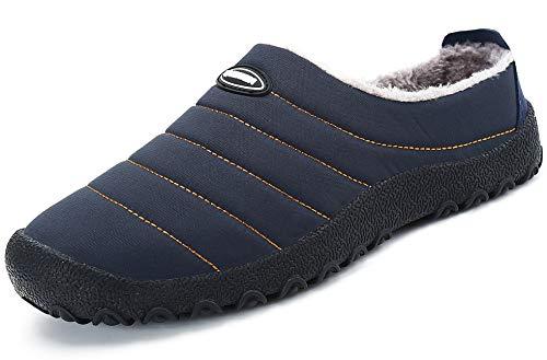 Zapatillas de Estar por Casa Mujer Hombre, Invierno Zapatos de Casa con Forro de Piel - Cálidas y Cómodas - con Suela Antideslizante para Exterior e Interior,Azul 37