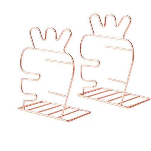 Citmage 装飾ブックエンド ゴールド中空彫刻デザイン ステンレススチール 装飾フラミンゴ 錬鉄本棚 男の子と女の子向け (ローズゴールド_2)