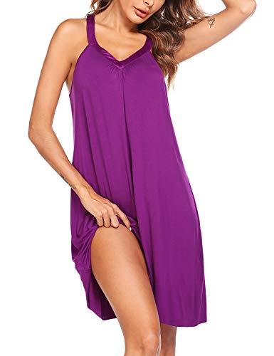 Ekouaer Womens Sleeveless Nightgown Sleepwear Summer Slip Night Dress (L, Eggplant)