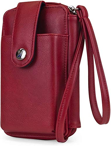 GRQU Bolso cruzado de cuero vegano para mujer, bolso cruzado para mujer (color: rojo)