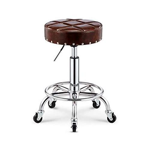NAN liang Seat Chair, Mute Caster Bar Chair peut lever 360 ° de rotation Tabouret de bar Chaises de beauté Tabouret en acier Tabouret de salon de beauté (5 couleurs) (Couleur : Marron foncé)