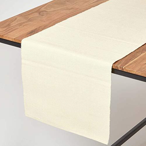 HOMESCAPES Chemin de Table Crème, Linge de Table en Coton uni, Décoration de Table