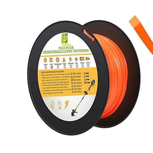 Viabrico Fil de coupe Universal pour débroussailleuse, 100M, fil nylon (Carré-2,4mm)