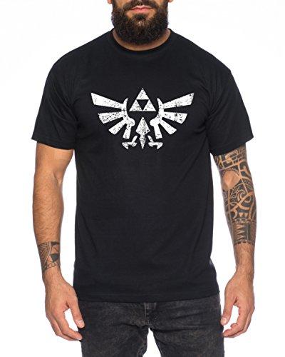 WhyKiki Zelda Link Epona SNES Ocarina Hyrule T-Shirt Herren, Farbe:Schwarz;Größe:3XL