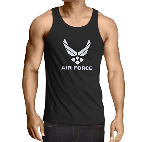 lepni.me Camisetas de Tirantes para Hombre United States Air Force (USAF) - U. S. Army, USA Armed Forces (Small Negro Blanco)