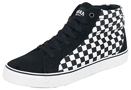 Urban Classics Herren Printed High Canvas Hohe Sneaker, Mehrfarbig (Black/White 00826), 44 EU
