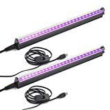 Led Black Light Bar, 10W 1ft USB UV Blacklight Tube, Glow in The Dark Party Supplies for Halloween Decorations, Room, Body Paint, Poster, Urine Detection, 2 Pack