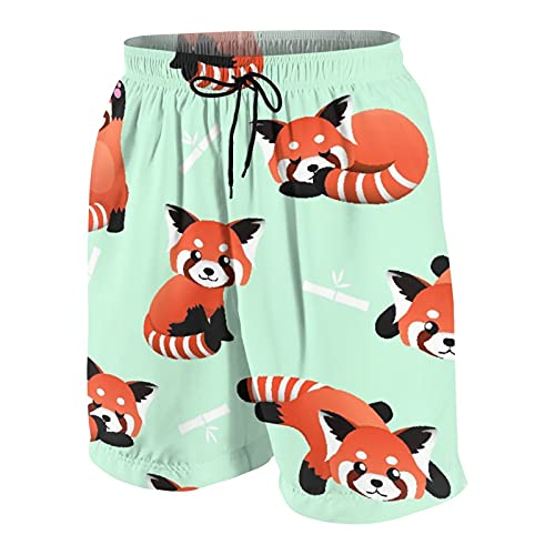 SUHOM De Los Hombres Casual Pantalones Cortos,Feliz Lindo Panda Rojo bambú Asia bebé Oso Arte,Secado Rápido Traje de Baño Playa Ropa de Deporte con Forro de Malla