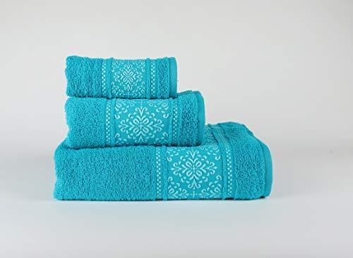 Forentex verpakking met 3 handdoeken, voor badkamer, fitnessstudio, strand, zwembad, 100% katoen, pruimenblauw, set 30 x 50 x 100 x 150 cm, 3 stuks