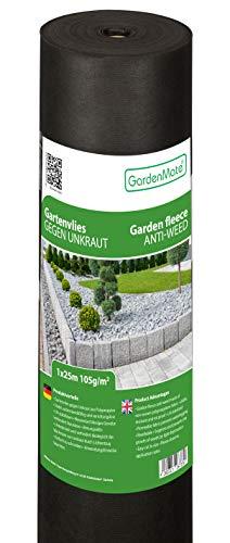 GardenMate 1mx25m Rolle 105g/m² Premium Gartenvlies - Unkrautvlies Extrem Reißfestes Unkrautschutzvlies - Hohe UV-Stabilisierung - Wasserdurchlässig - 1mx25m=25m²