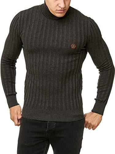 Red Bridge Herren RIPP Rollkragen Pullover Sweatshirt Strickpullover Anthrazit XL