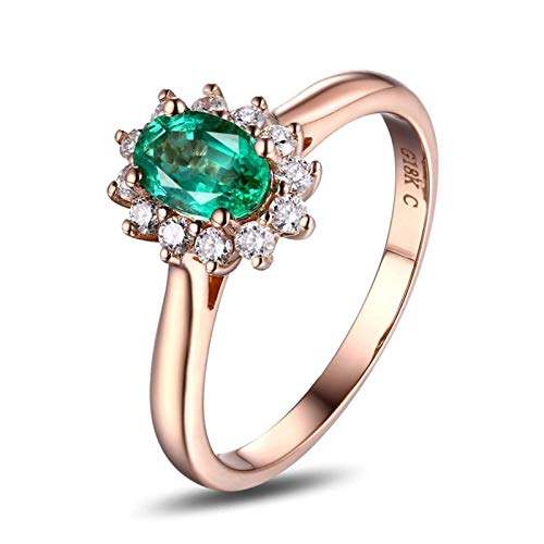 Beydodo Anillos Compromiso Mujer Oro Rosa 18K Flor con Oval Esmeralda Verde Blanca 0.52ct Anillo Talla 6,75-23