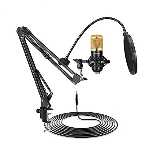 Micrófono, micrófono de Estudio Condensador, chipset de Sonido, Brazo de Tijera, micrófono de Condensador de Anclaje de Red con Soporte de Choque, Enchufe y Juego