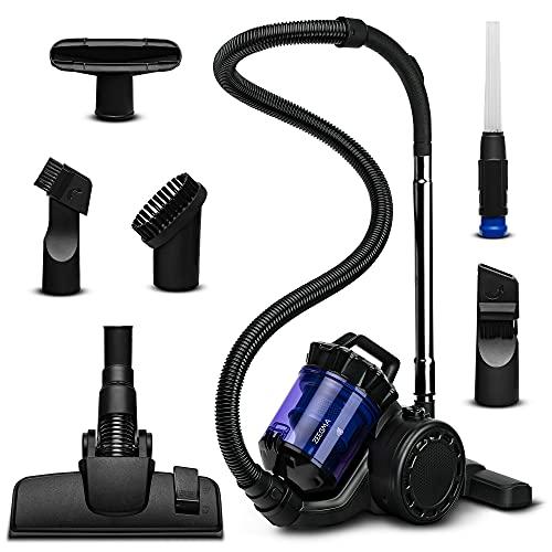 ZEEGMA Zonder Base aspirateur aspirateur cyclone sans sac haute puissance d'aspiration 2 HEPA H13 et filtre lavable bac à poussière anti-allergique 2,5 litres, noir