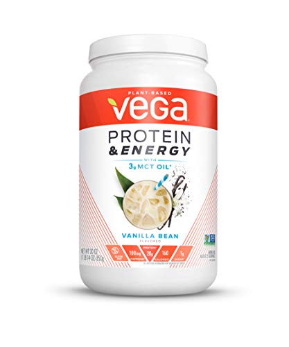 Vega Protein & Energy Vanilla Bean (25 Servings, 30 Ounce (Pack of 1)) - Plant Based Vegan Non Dairy Protein Powder, Gluten Free, Keto, MCT oil, Non GMO