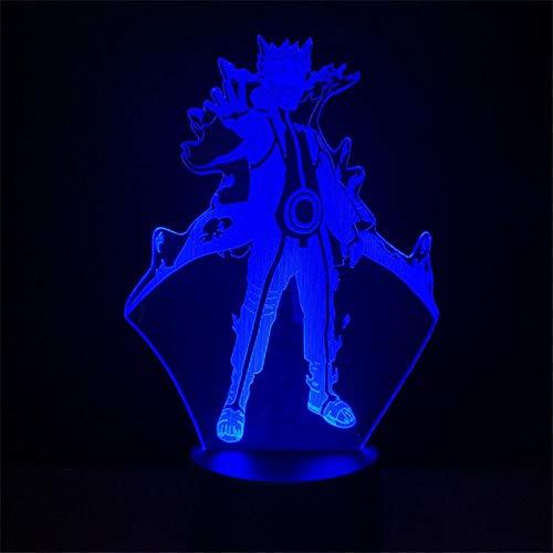 DAJIE Figura de Naruto Uzumaki Naruto Kurama Mode Usb Night Lamp for Kids 3D Light Mutilcolor Change LED Desk Lampara for Party Home