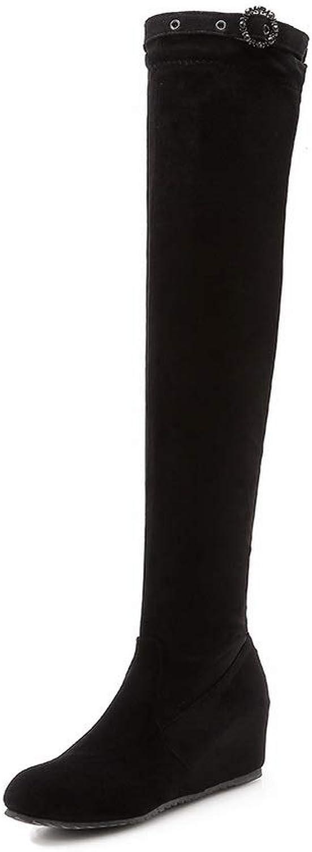 AN Womens Heighten Inside Metal Buckles Imitated Suede Boots DKU02298