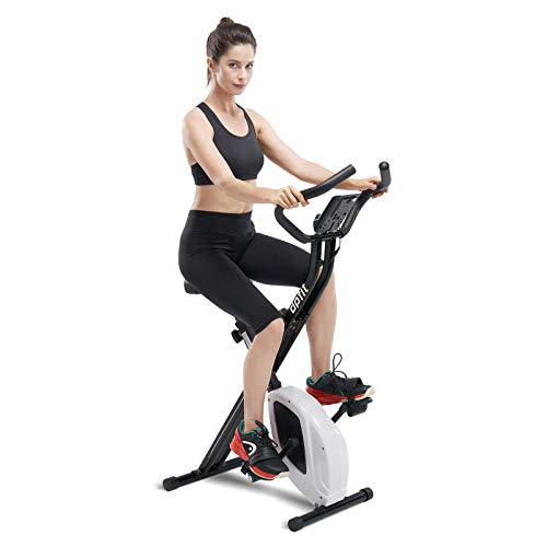 DPFIT Folding Stationary Exercise Bike with 8-levels Magnetic Resistance, Indoor Upright Foldable Cycling Bike with Large Cushy Seat, Tablet Holder and LCD Monitor for Home Workout , Black