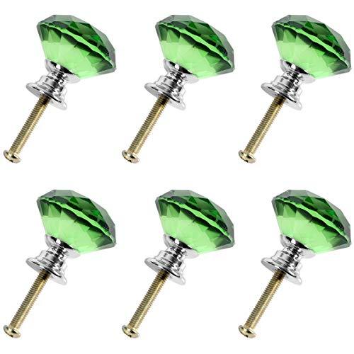 Creatwls 6 Stück Möbelknöpfe 30 mm Kristall Möbelgriffe Möbelknauf Schrankgriffe Knöpfe Ziehen Griff für Küche Büro Schrank Schublade Einzigartige Dekoration, 8 Farben verfügbar