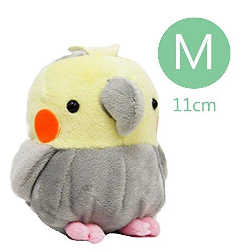 Soft and Downy Medium Bird Stuffed Toy Doll (Cockatiel/Grey / M Size 11 cm)