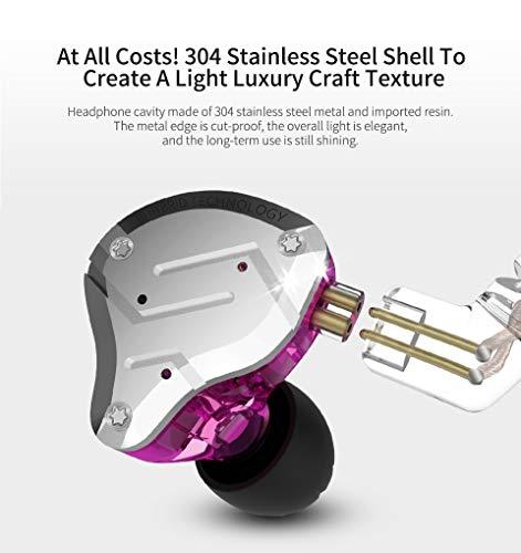 KZZS10PRO重低音kzイヤホンイヤフォンノイズキャンセリングZS10PROイヤモニ型ハイブリッドイヤホン1ダイナミック&4バランスド・アーマチュアを搭載リケーブル可能透明感であるシェルとフェイスプレートを採用中華イヤホン(PurpleNoMic)