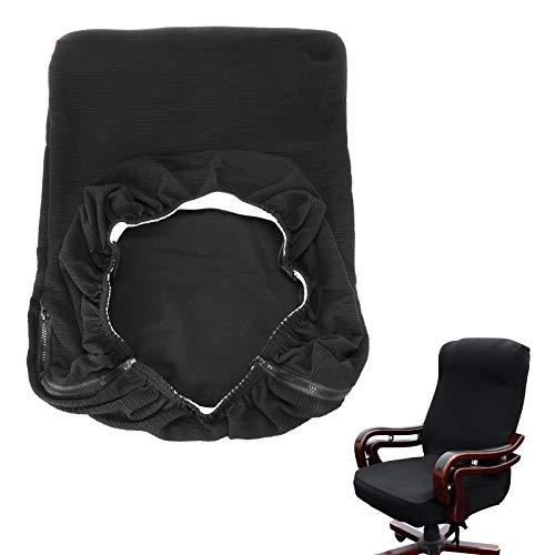 Btsky, coprisedia da ufficio in stile moderno, elasticizzato, rimovibile, resistente, per sedia girevole da ufficio con braccioli (sedia non inclusa), Black, large