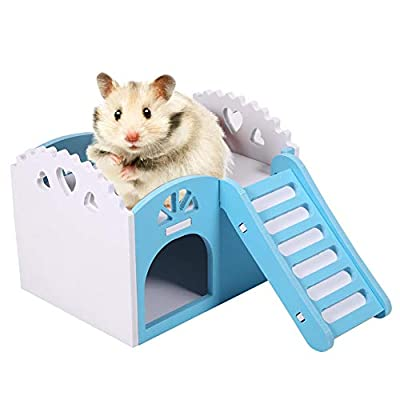 Hamster House, Wood Plastic Plate Pet Cabin Small Animal Hideout Rat Villa Two-layer Hut for Small Animals, Equipped with Ladder(Blue) from Smandy