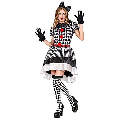 Widmann Widmann-09014 09014 – Costume rétro, Robe avec col de Clown, nœud pour Cheveux, Gants, Horreur, Tueur, Halloween, Femme, Multicolore, xl