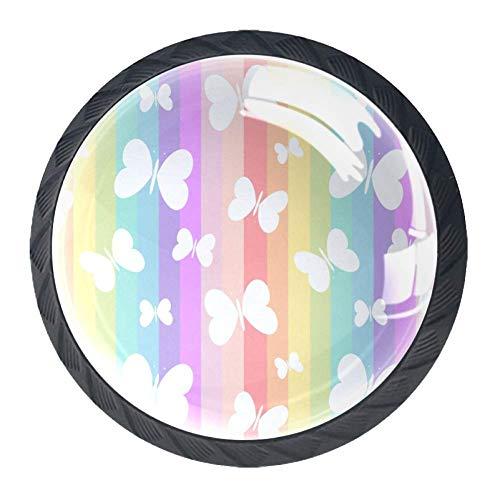 Tiradores redondos de cristal con diseño de mariposas en el arco iris para el hogar, la oficina, la…
