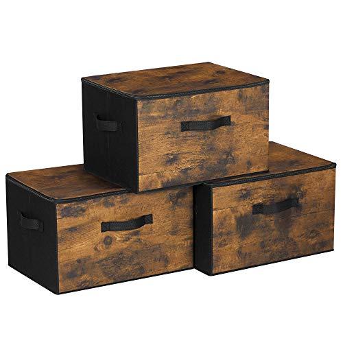 SONGMICS Aufbewahrungsboxen mit Deckel, 3er Set, faltbare Stoffboxen, für Kleidung und Spielzeug, 40 x 30 x 25 cm, Vliesstoff, vintagebraun-schwarz RYZ103B01