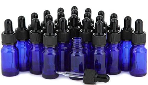 Vivaplex, 24, Cobalt Blue, 10 ml (1/3 oz) Glass Bottles, with Glass Eye Droppers