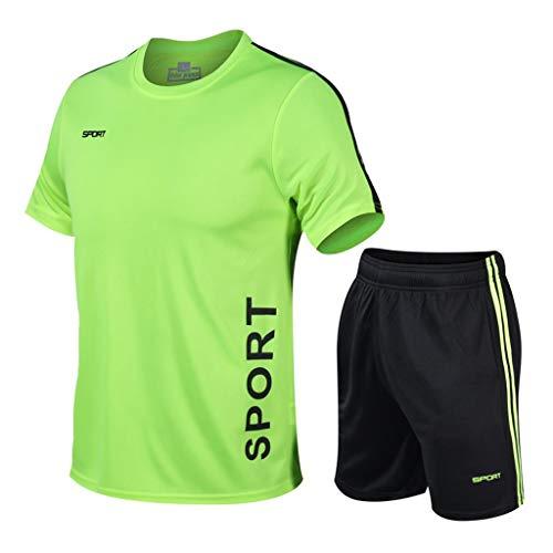 Herren Sportanzug Jogginganzug T-Shirt Shorts Outfit 2-Teiliges Oversize Sommer Trainingsanzug Kurzarm Rundhals Tops Kurze Hose Freizeitanzüge für Männer Fitness Gym Running IFOUNDYOU