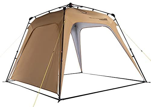 Lumaland x Where Tomorrow Gazebo de Camping – 1 Pared Lateral Incluido - Carpa de jardín – Cenador para Patio – Ideal para Acampada/Festival – Instalación Fácil – Marrón
