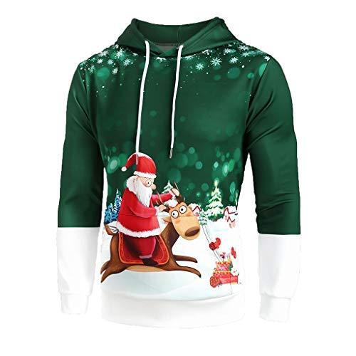 GreatestPAK Weihnachten Hoodie Herren Langarm Kapuzenpullover Weihnachtsmann Rentier 3D-Druck Komfort Tops,Grün,Etiketten:XL(Büste:120cm)