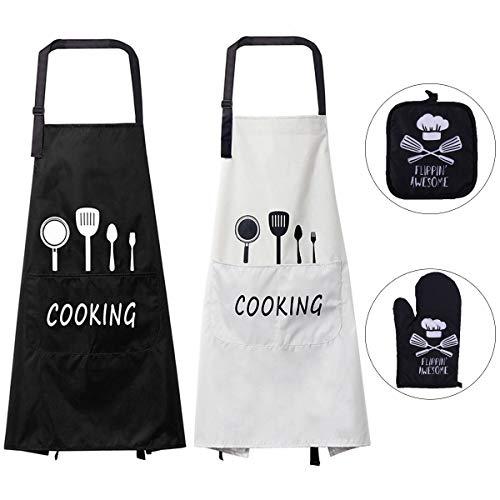 Queta Schürze Kochschürze 100% Baumwolle Wasserdicht Latzschürze mit Tasche (Weiß + Schwarz Ofenhandschuhe + Isolierpads (Schwarz) 2-teiliges Set