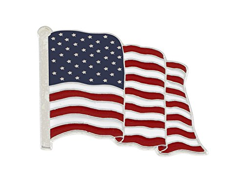 Forge Silver Plated Waving American Flag Lapel Pin Made in USA (Silver Tone) (1 Pin)