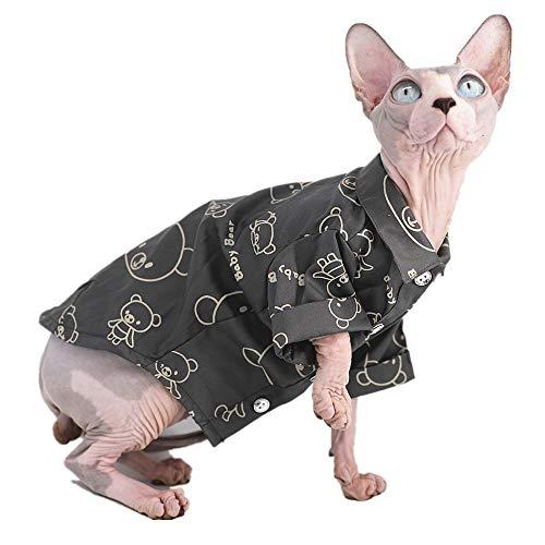 Sphynx Haarlose Katze, atmungsaktiv, Sommer-Hemd, Haustierkleidung, süßes Bären-Muster, Knöpfe, T-Shirts mit Ärmel, Katzen und kleine Hunde, S, grau