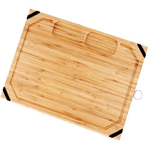 Utoplike Planche à découper en bambou bio avec poignées en caoutchouc antidérapantes sans BPA et 2 compartiments conçus pour disposer ail oignon et viande Grande taille