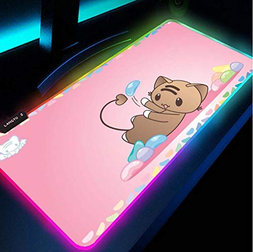 BLAMARIA Mouse Pads Mousepad Pink Cute Kawaii Gaming Gamer Girl RGB Mouse Pad with A Cat Mat Bear Backlit Mat LED Mats for Pc Anime (Size_2)300X700X4Mm, Large