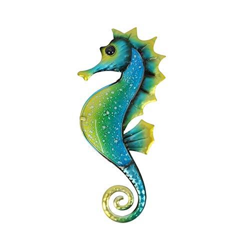 Liffy metal seahorse decoración de la pared al aire libre mar metal arte colgante escultura de vidrio decorativa azul para Arte de pared de metal para colgar en, baño, piscina, decoración de valla ...