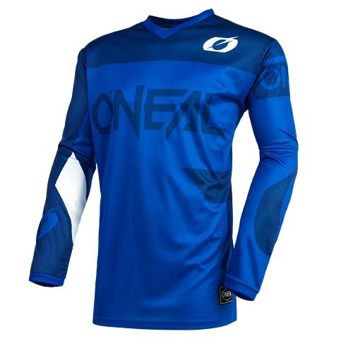 O'NEAL | Motocross-Trikot | Enduro MX | Atmungsaktives Material, Gepolsterter Ellbogenschutz, Passform für maximale Bewegungsfreiheit | Element Jersey Racewear | Erwachsene | Blau | Größe L