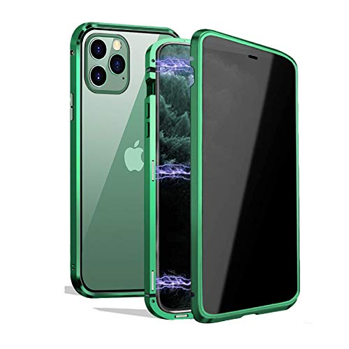 Privacy Magnetic Case for iPhone 11 Pro, Anti-peeping Magnetic Case Front&Back Tempered Glass Full Screen Coverage [Support Wireless Charging] Anti-spy Magnetic Phone Case for iPhone 11 Pro- Green