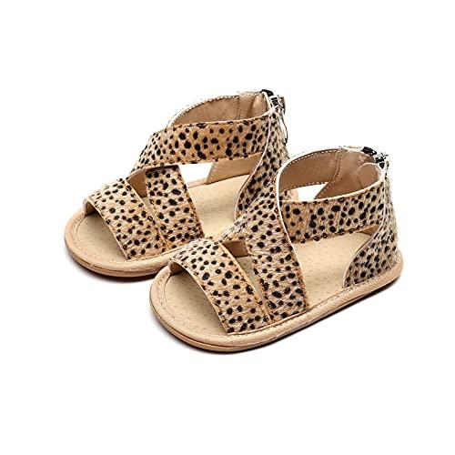 youwu 0-18M - Sandalias de leopardo antideslizantes con suela de goma para niños y niñas (edad del bebé: 13 a 18 meses, color: A)