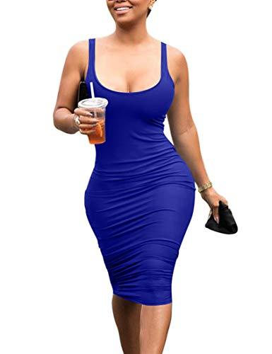 Mokoru Women's Casual Basic Pencil Tank Dress Sexy Sleeveless Bodycon Midi Club Dress, Large, Royal Blue