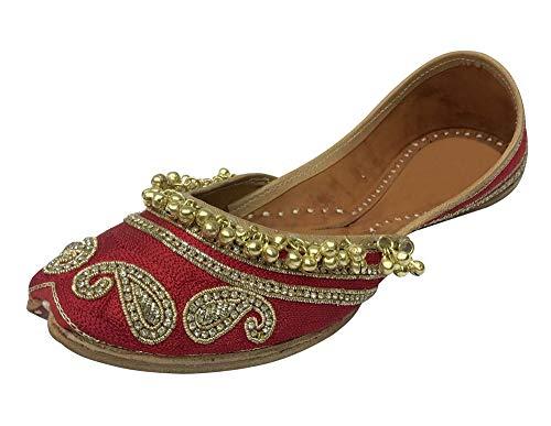 Step n Style Designer Schuhe Indische Ethnische Kleidung Tanzen Balley Punjabi Jutti flach Khusa, Rot - rot - Größe: 41.5 EU