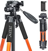 JEIFN Q111 Travel Camera Tripod for Laser Level and Spotting Scope Tripod with Phone Clip for DSLR SLR Canon Nikon Sony with Carry Bag (Orange)