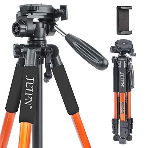 """JEIFN Q111 Trépied de voyage compact et léger pour appareil photo reflex numérique Canon Nikon Sony avec sac de transport Bleu 58"""""""